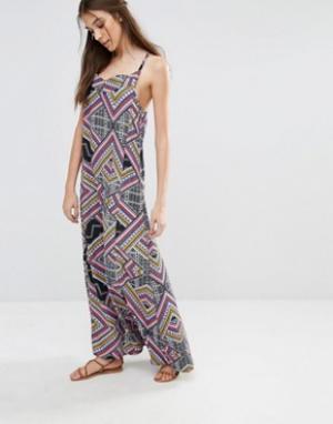 Diya Платье макси с геометрическим принтом. Цвет: мульти