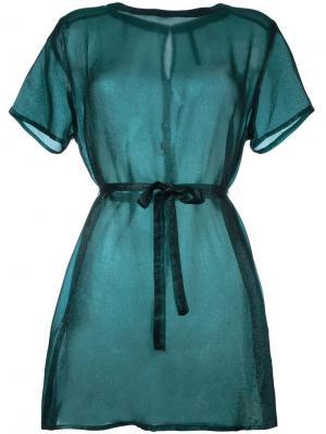 Полупрозрачное платье-рубашка Minimarket. Цвет: зелёный