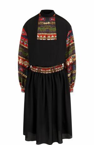 Приталенное платье-миди с длинным рукавом Stella Jean. Цвет: черный