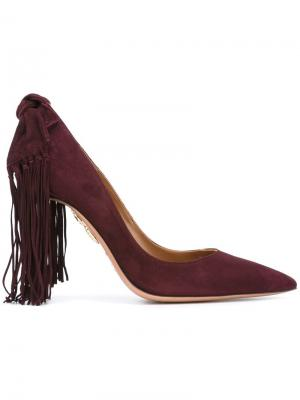 Туфли с бахромой Aquazzura. Цвет: розовый и фиолетовый