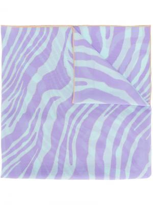 Шарф с волнистым узором Roberto Cavalli. Цвет: розовый и фиолетовый