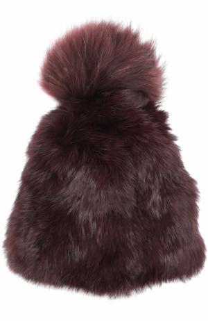 Шапка из меха кролика Yves Salomon. Цвет: бордовый