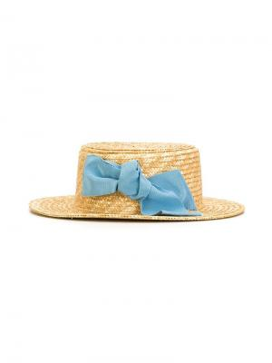 Bow detail straw hat Mi Sol. Цвет: телесный