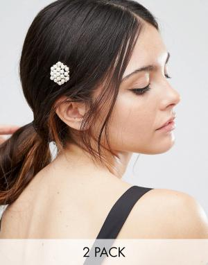 ASOS 2 заколки для волос с искусственным жемчугом. Цвет: кремовый