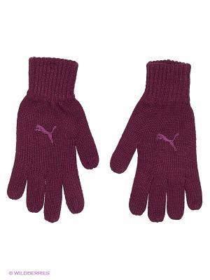 Перчатки Fundamentals Knit Gloves Puma. Цвет: сливовый