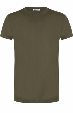 Хлопковая футболка с круглым вырезом Tomas Maier. Цвет: хаки