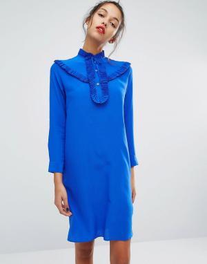PS Paul Smith Шелковое платье с оборкой спереди by. Цвет: синий