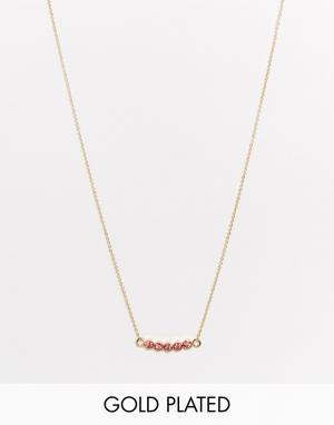 Neve & Eve Изящное ожерелье с камнями. Цвет: розовый