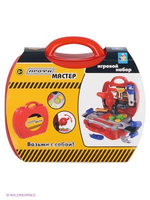Игровой набор в чемоданчике Профи Мастер,19 инструментов 1toy. Цвет: красный