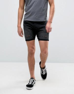 Brave Soul Черные рваные джинсовые шорты. Цвет: черный