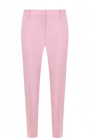 Укороченные шерстяные брюки со стрелками Theory. Цвет: розовый