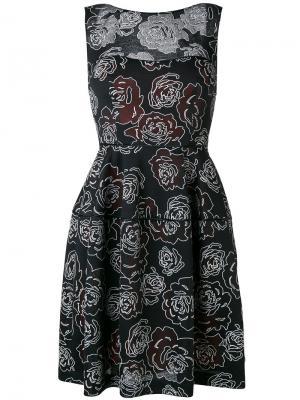 Платье с цветочным принтом Talbot Runhof. Цвет: чёрный