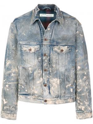Джинсовая куртка с потертой отделкой Off-White. Цвет: синий