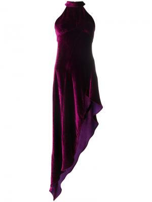 Асимметричное бархатное платье Attico. Цвет: розовый и фиолетовый
