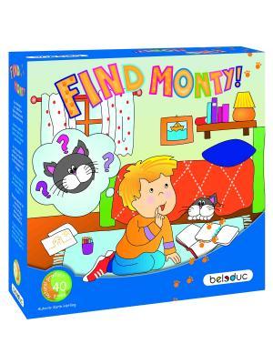 Развивающая игра Найди кота Монти! Beleduc. Цвет: светло-голубой