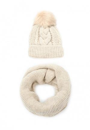 Комплект шапка и снуд Fete. Цвет: бежевый