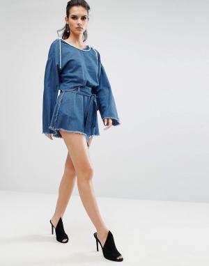 Kendall + Kylie Шорты из ткани шамбре с необработанными краями. Цвет: синий