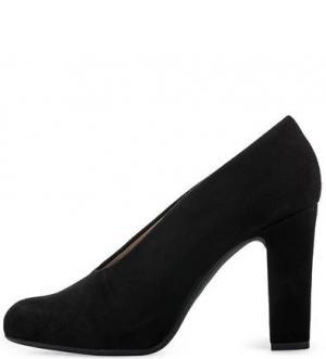 Черные замшевые туфли на устойчивом каблуке UNISA. Цвет: черный