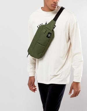 ASOS Широкая сумка-кошелек на пояс цвета хаки. Цвет: зеленый