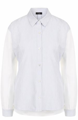 Хлопковая блуза свободного кроя в полоску Clu. Цвет: синий