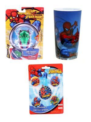 Набор из 7-ми предметов Spider-Man: игрушка фонарик, пластиковый стакан, 5 значков Spider-Man. Цвет: голубой, белый, красный