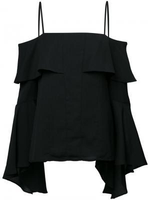 Топ с открытыми плечами на бретельках C/Meo. Цвет: чёрный