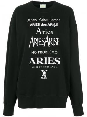 Свитер с принтом логотипа Aries. Цвет: чёрный