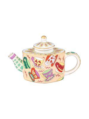 Сувенир-чайник Чашечки Elan Gallery. Цвет: кремовый, желтый, зеленый, красный