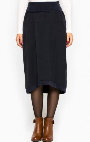 Синяя юбка средней длины THINK CHIC. Цвет: синий