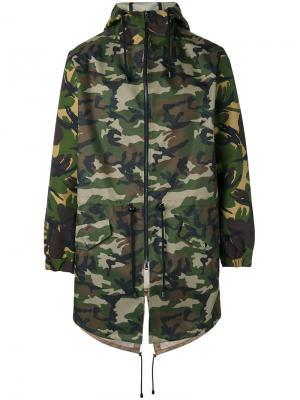 Камуфляжное пальто с капюшоном Lc23. Цвет: зелёный