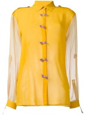 Рубашка с полупрозрачными рукавами Marco De Vincenzo. Цвет: жёлтый и оранжевый