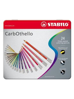 STABILO CarbOthello набор карандашей пастельных 24цв, в металлическом футляре. Цвет: серый