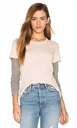 Двухслойная футболка с длинным рукавом MONROW. Цвет: розовый