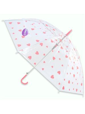Зонт Сердечки, 53 см. Amico. Цвет: прозрачный, розовый