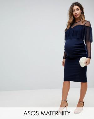 ASOS Maternity Облегающее платье миди с длинными рукавами и оборкой из ткани добби AS. Цвет: темно-синий