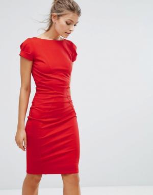 Closet London Платье-футляр с присборенными короткими рукавами. Цвет: красный