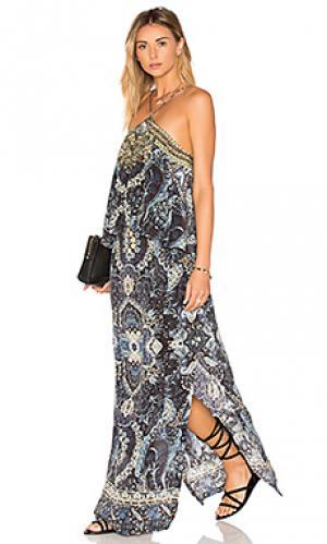 Ярусное платье на бретельках Camilla. Цвет: синий