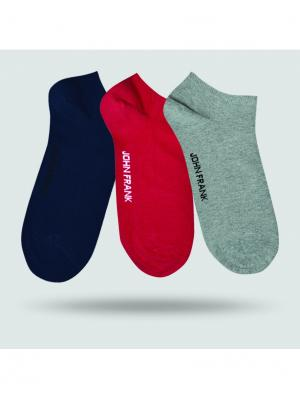 Носки мужские (3 пары) JOHN FRANK. Цвет: красный, серый, синий