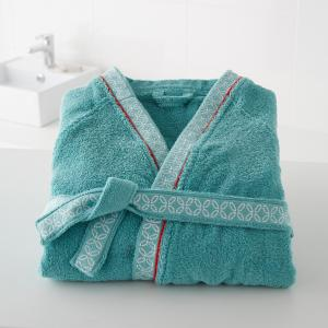 Халат махровый, воротник кимоно, 400гр/м², Miss China La Redoute Interieurs. Цвет: голубая лагуна,серо-коричневый