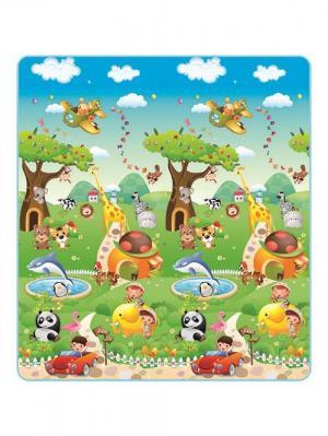 Детский развивающий коврик Прогулка по зоопарку односторонний 200х180х0,5 Mambobaby. Цвет: голубой
