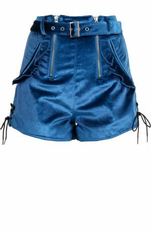 Бархатные мини-шорты с завышенной талией и поясом self-portrait. Цвет: синий