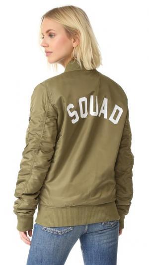 Бомбер Squad Private Party. Цвет: зеленый
