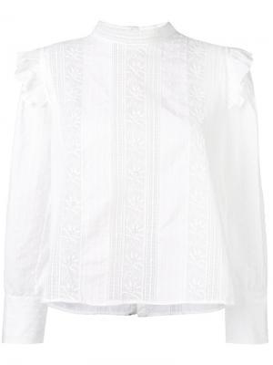 Блузка с кружевными вставками Masscob. Цвет: белый
