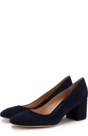 Замшевые туфли Gilda на устойчивом каблуке Gianvito Rossi. Цвет: темно-синий