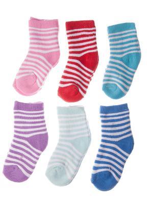 Набор носочков Pretty Mania. Цвет: голубой, светло-голубой, фиолетовый, красный, розовый, синий