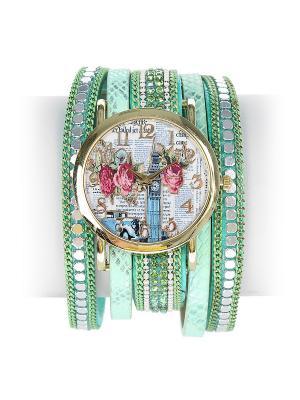 Часы Migura. Цвет: зеленый, золотистый