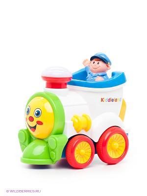 Игрушка Забавный паровозик Kiddieland. Цвет: зеленый, голубой, красный, белый