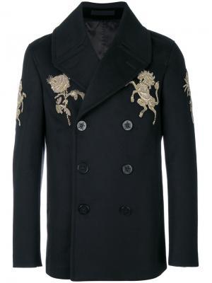 Пальто с золотистой вышивкой Alexander McQueen. Цвет: чёрный