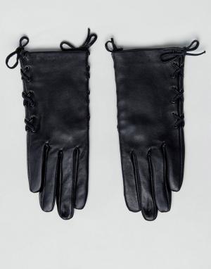 ASOS Кожаные перчатки с завязками по бокам. Цвет: черный