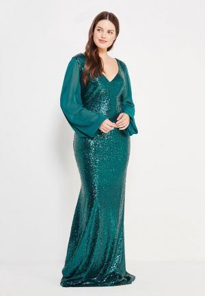 Платье Goddiva Size Plus. Цвет: зеленый